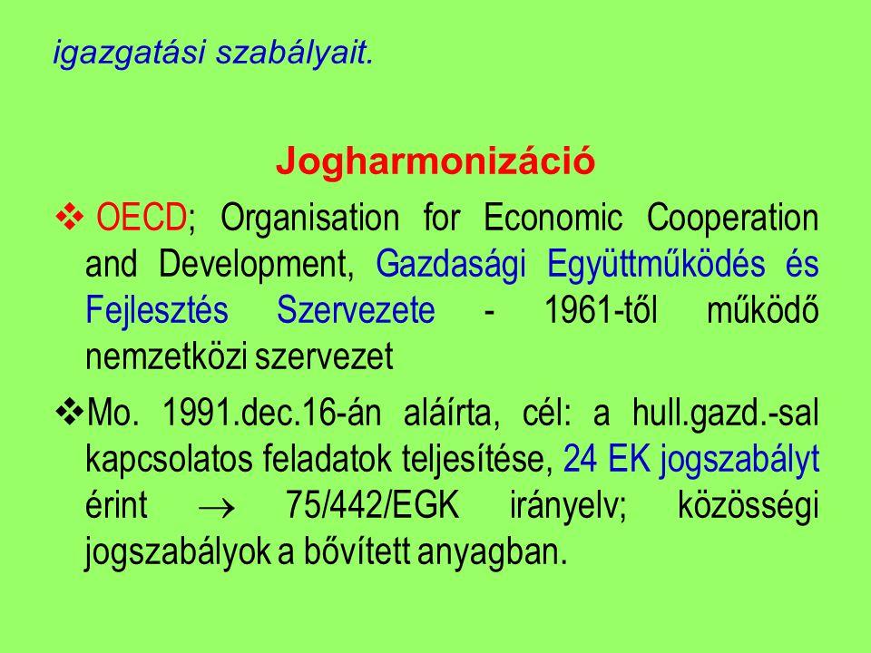 igazgatási szabályait. Jogharmonizáció  OECD; Organisation for Economic Cooperation and Development, Gazdasági Együttműködés és Fejlesztés Szervezete