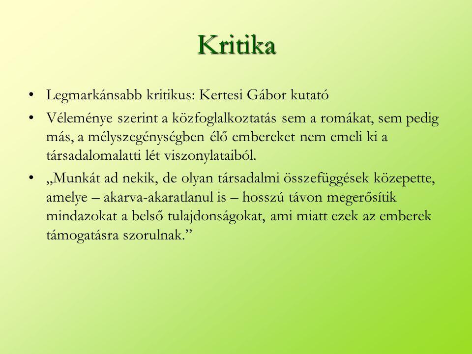 Kritika •Legmarkánsabb kritikus: Kertesi Gábor kutató •Véleménye szerint a közfoglalkoztatás sem a romákat, sem pedig más, a mélyszegénységben élő emb