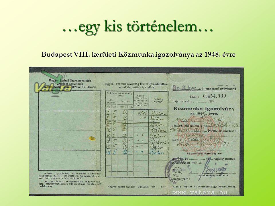 …egy kis történelem… Budapest VIII. kerületi Közmunka igazolványa az 1948. évre
