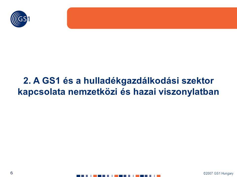 ©2007 GS1 Hungary 66 2. A GS1 és a hulladékgazdálkodási szektor kapcsolata nemzetközi és hazai viszonylatban
