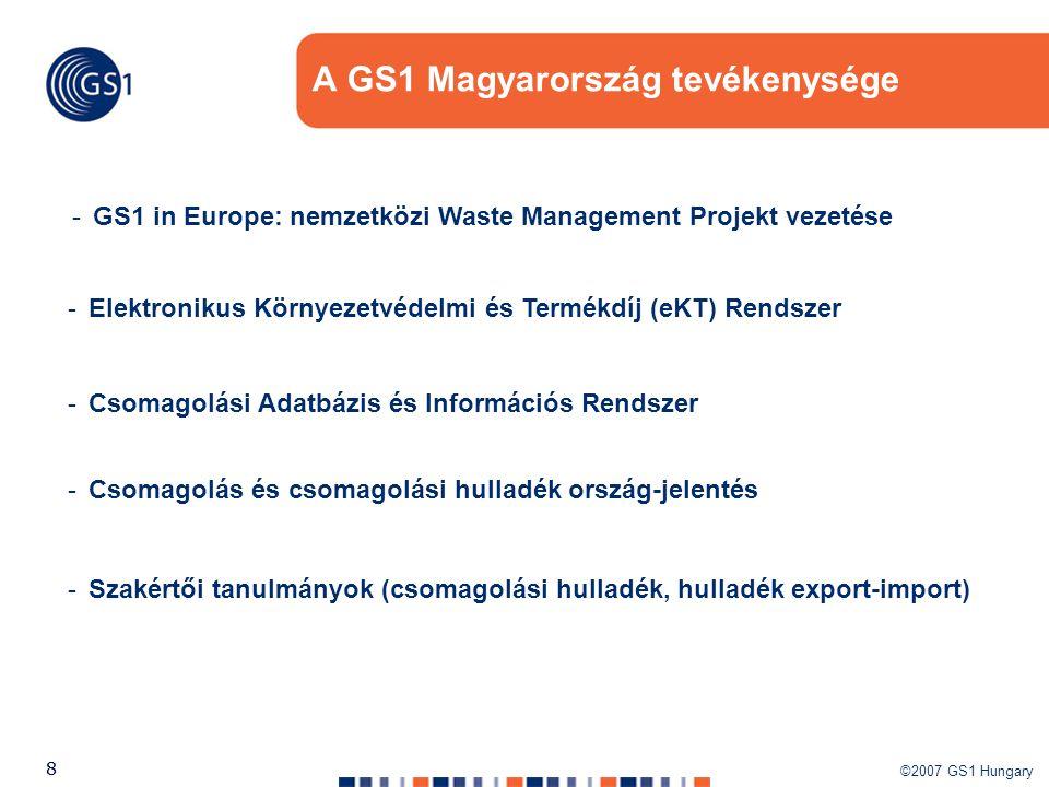 ©2007 GS1 Hungary 88 A GS1 Magyarország tevékenysége -GS1 in Europe: nemzetközi Waste Management Projekt vezetése -Elektronikus Környezetvédelmi és Te