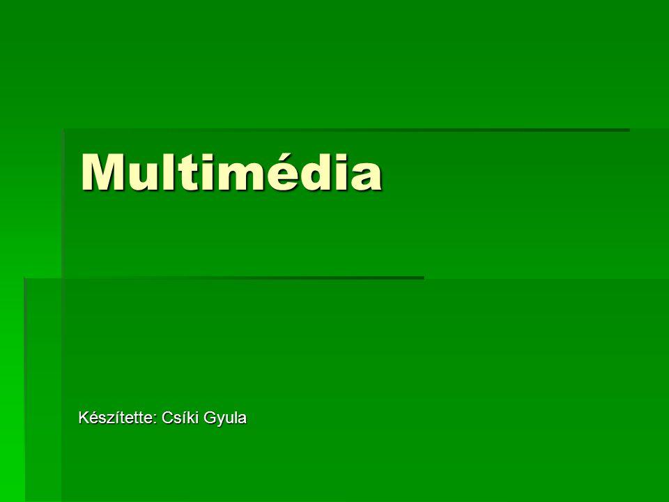 Digitalizált videóállományok MPEG – 1:  1992-ben fogadták el  320x240 videó -> 1.5Mbit/sec olvasás  Min 2x sebességű CD-ROM meghajtó képes dolgozni