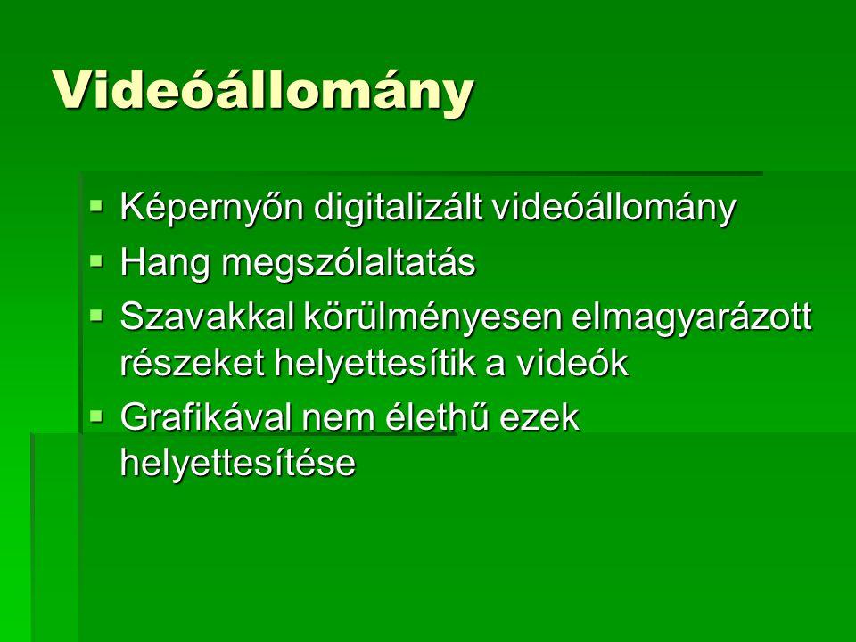 Videóállomány  Képernyőn digitalizált videóállomány  Hang megszólaltatás  Szavakkal körülményesen elmagyarázott részeket helyettesítik a videók  Grafikával nem élethű ezek helyettesítése