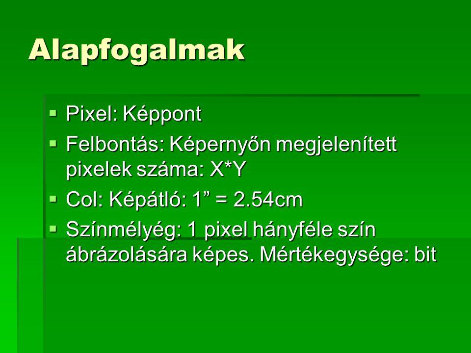 Alapfogalmak  Pixel: Képpont  Felbontás: Képernyőn megjelenített pixelek száma: X*Y  Col: Képátló: 1 = 2.54cm  Színmélyég: 1 pixel hányféle szín ábrázolására képes.