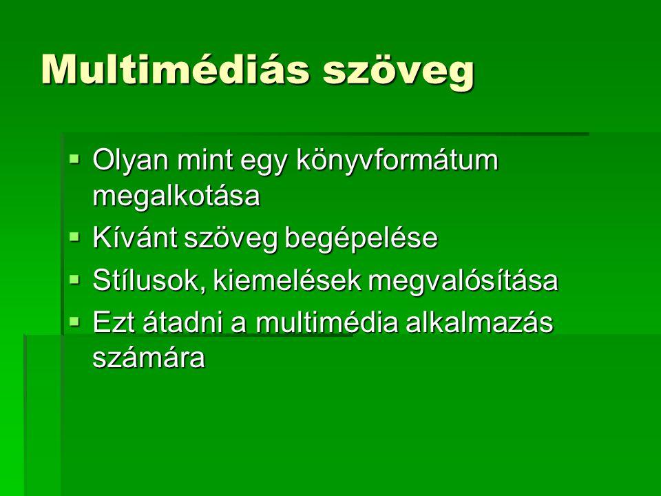 Multimédiás szöveg  Olyan mint egy könyvformátum megalkotása  Kívánt szöveg begépelése  Stílusok, kiemelések megvalósítása  Ezt átadni a multimédia alkalmazás számára