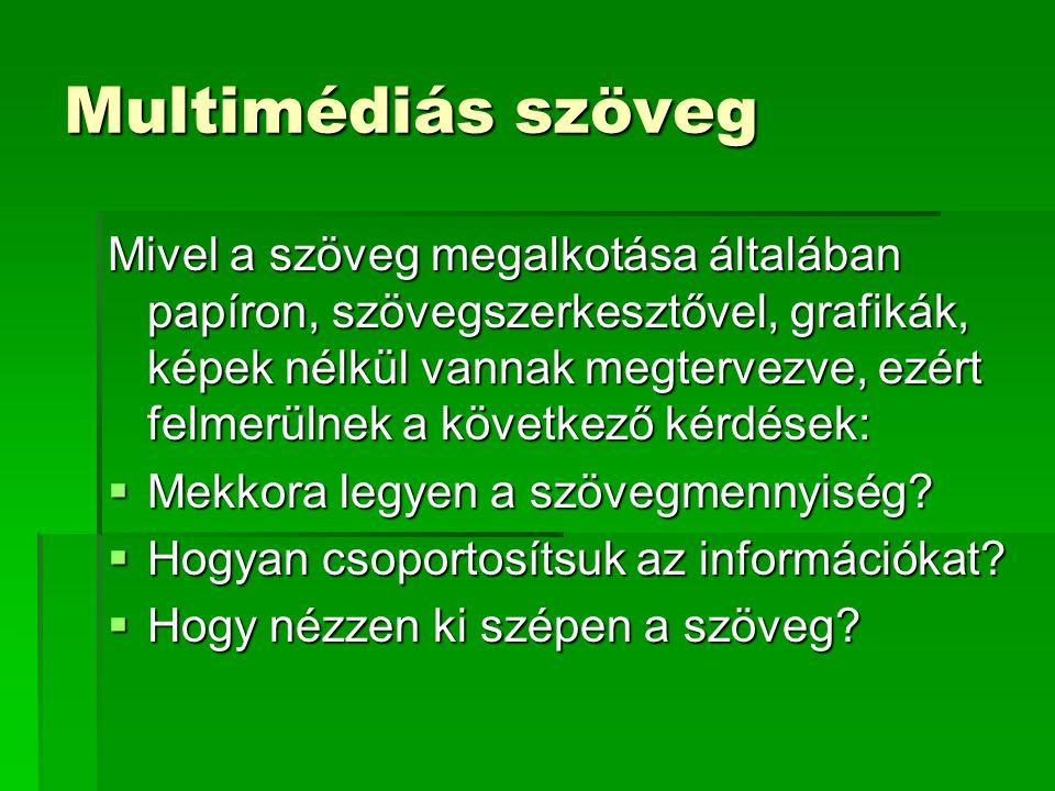 Multimédiás szöveg Mivel a szöveg megalkotása általában papíron, szövegszerkesztővel, grafikák, képek nélkül vannak megtervezve, ezért felmerülnek a következő kérdések:  Mekkora legyen a szövegmennyiség.