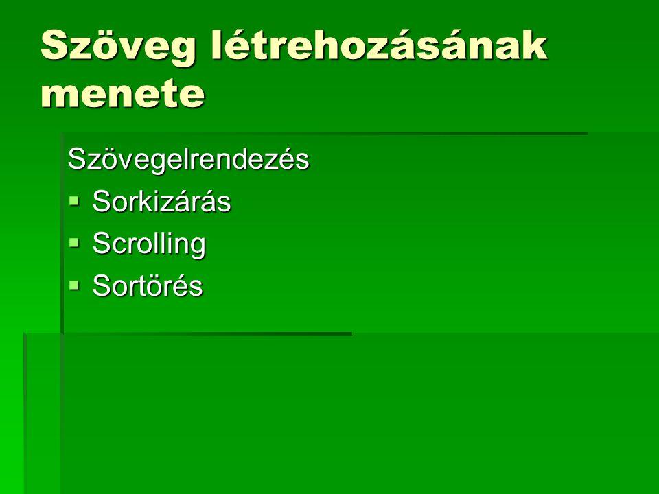 Szöveg létrehozásának menete Szövegelrendezés  Sorkizárás  Scrolling  Sortörés