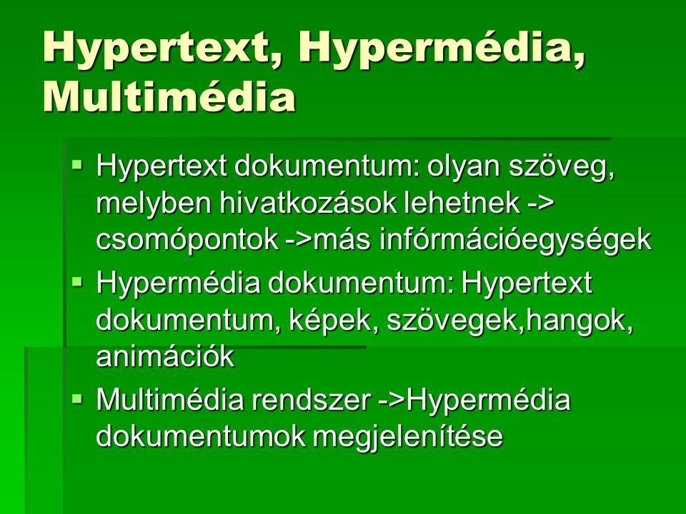 Hypertext, Hypermédia, Multimédia  Hypertext dokumentum: olyan szöveg, melyben hivatkozások lehetnek -> csomópontok ->más infórmációegységek  Hypermédia dokumentum: Hypertext dokumentum, képek, szövegek,hangok, animációk  Multimédia rendszer ->Hypermédia dokumentumok megjelenítése