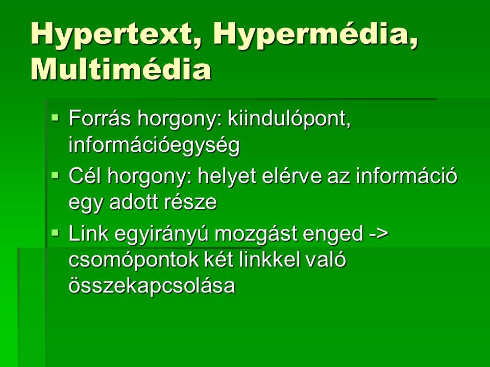 Hypertext, Hypermédia, Multimédia  Forrás horgony: kiindulópont, információegység  Cél horgony: helyet elérve az információ egy adott része  Link egyirányú mozgást enged -> csomópontok két linkkel való összekapcsolása