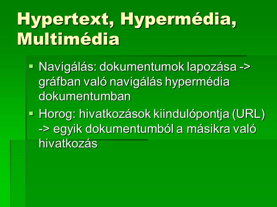 Hypertext, Hypermédia, Multimédia  Navigálás: dokumentumok lapozása -> gráfban való navigálás hypermédia dokumentumban  Horog: hivatkozások kiindulópontja (URL) -> egyik dokumentumból a másikra való hivatkozás