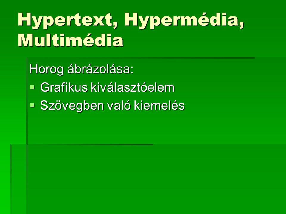 Hypertext, Hypermédia, Multimédia Horog ábrázolása:  Grafikus kiválasztóelem  Szövegben való kiemelés