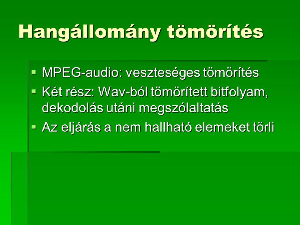 Hangállomány tömörítés  MPEG-audio: veszteséges tömörítés  Két rész: Wav-ból tömörített bitfolyam, dekodolás utáni megszólaltatás  Az eljárás a nem hallható elemeket törli