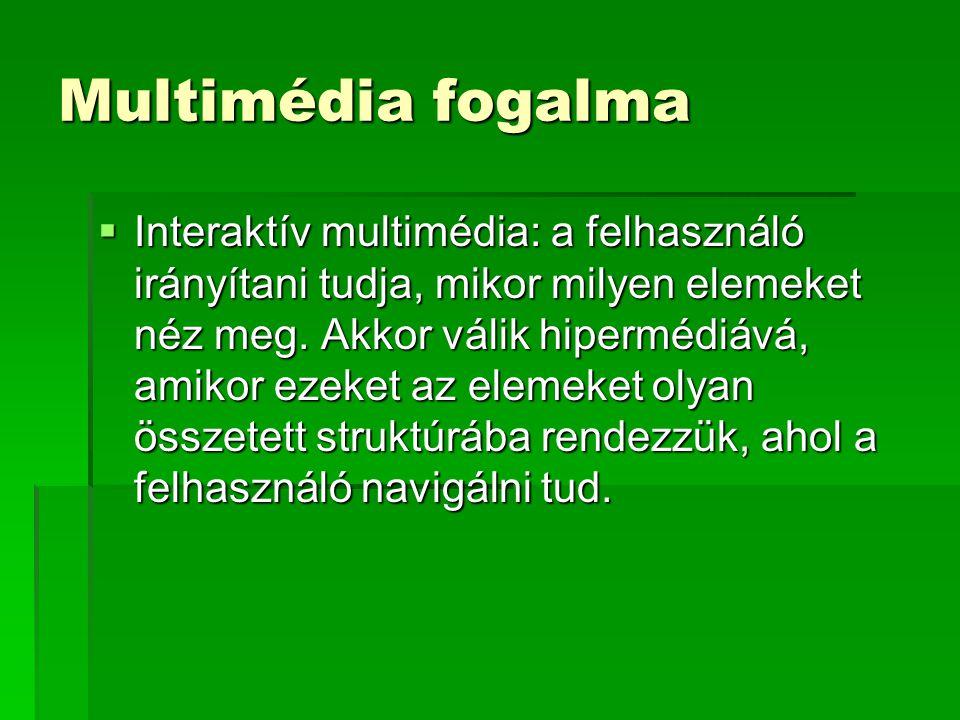 Multimédia fogalma Multimédiás anyag fejlesztése során az alábbi elemeket használhatjuk fel:  Szöveg  Animált szöveg  Kép  Animált kép  Hang  Videoklip  Animáció