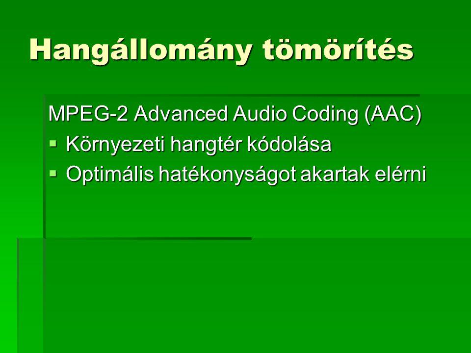 Hangállomány tömörítés MPEG-2 Advanced Audio Coding (AAC)  Környezeti hangtér kódolása  Optimális hatékonyságot akartak elérni