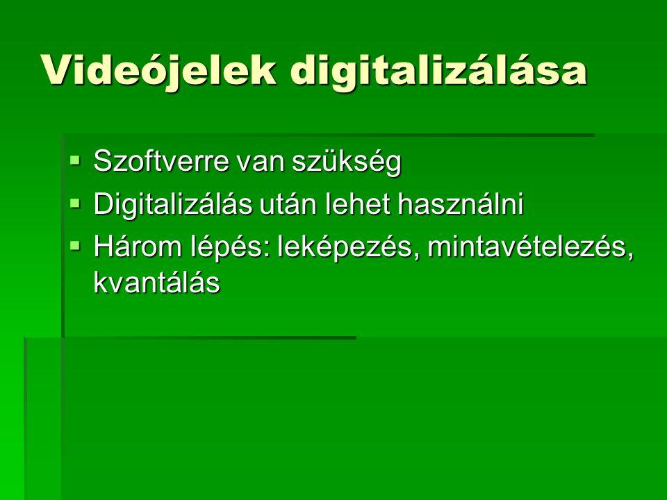 Videójelek digitalizálása  Szoftverre van szükség  Digitalizálás után lehet használni  Három lépés: leképezés, mintavételezés, kvantálás