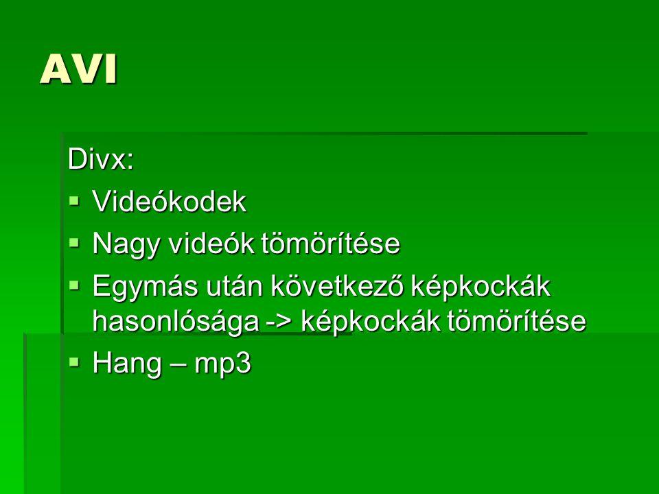 AVI Divx:  Videókodek  Nagy videók tömörítése  Egymás után következő képkockák hasonlósága -> képkockák tömörítése  Hang – mp3