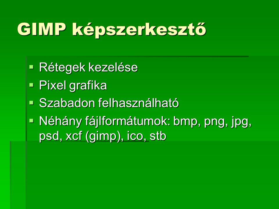 GIMP képszerkesztő  Rétegek kezelése  Pixel grafika  Szabadon felhasználható  Néhány fájlformátumok: bmp, png, jpg, psd, xcf (gimp), ico, stb