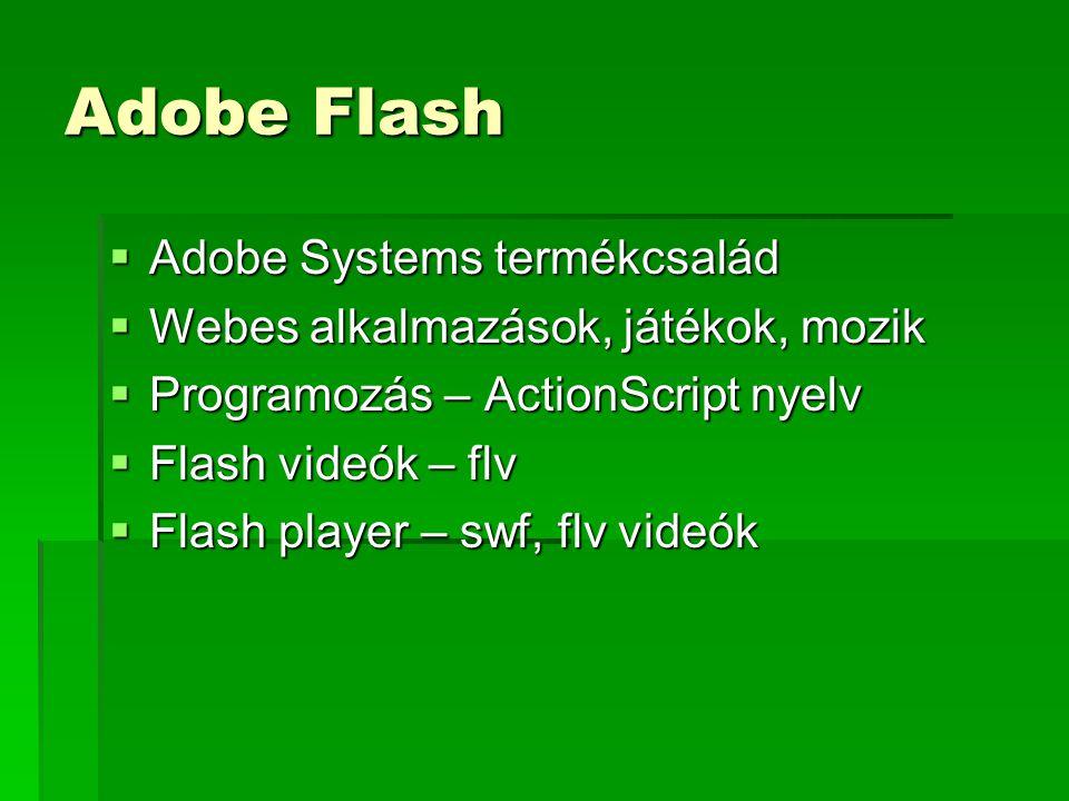 Adobe Flash  Adobe Systems termékcsalád  Webes alkalmazások, játékok, mozik  Programozás – ActionScript nyelv  Flash videók – flv  Flash player – swf, flv videók