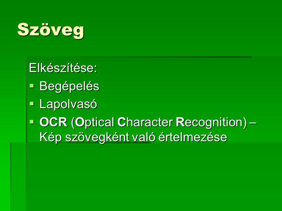 Szöveg Elkészítése:  Begépelés  Lapolvasó  OCR (Optical Character Recognition) – Kép szövegként való értelmezése