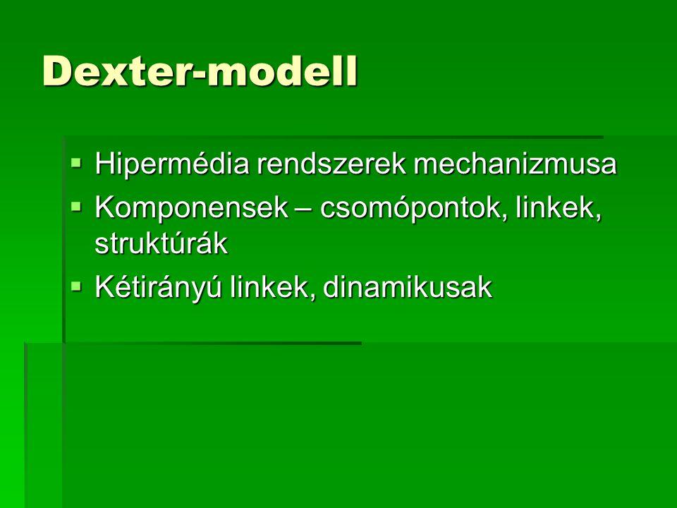 Dexter-modell  Hipermédia rendszerek mechanizmusa  Komponensek – csomópontok, linkek, struktúrák  Kétirányú linkek, dinamikusak