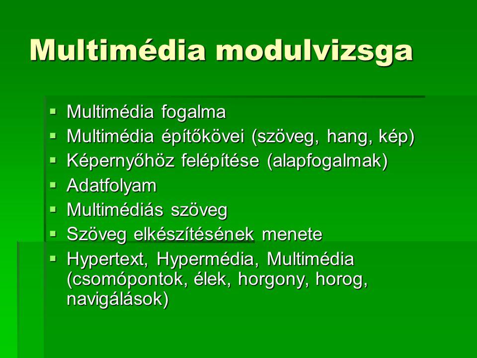 Multimédia modulvizsga  Multimédia fogalma  Multimédia építőkövei (szöveg, hang, kép)  Képernyőhöz felépítése (alapfogalmak)  Adatfolyam  Multimédiás szöveg  Szöveg elkészítésének menete  Hypertext, Hypermédia, Multimédia (csomópontok, élek, horgony, horog, navigálások)