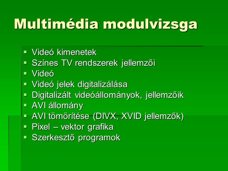 Multimédia modulvizsga  Videó kimenetek  Színes TV rendszerek jellemzői  Videó  Videó jelek digitalizálása  Digitalizált videóállományok, jellemzőik  AVI állomány  AVI tömörítése (DIVX, XVID jellemzők)  Pixel – vektor grafika  Szerkesztő programok