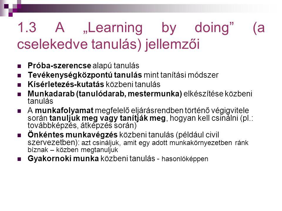 """1.3 A """"Learning by doing"""" (a cselekedve tanulás) jellemzői  Próba-szerencse alapú tanulás  Tevékenységközpontú tanulás mint tanítási módszer  Kísér"""