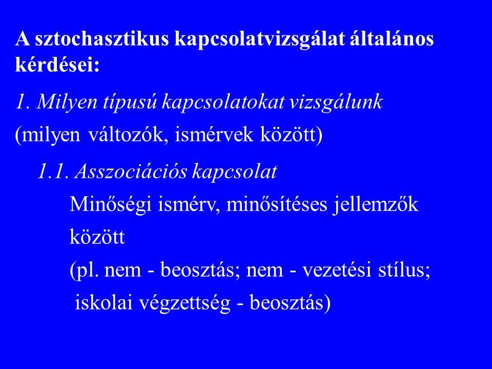A sztochasztikus kapcsolatvizsgálat általános kérdései: 1.