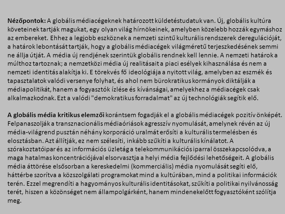 Direkthatás-elméletekKorlátozotthatás-elméletek lövedékelmélet (Lasswell, 1927)kétlépcsős hatásmodell (Lazarsfeld et al., 1944) kultivációs elmélet (Gerbner, 1969)szelektívészlelés-elmélet (Klapper, 1960) hallgatásispirál-elmélet (Noëlle-Neumann, 1974) napirendelmélet (McCombs és Shaw, 1972) framingelmélet (Herman és Chomsky, 1988)használat és kielégülés-modell (Blumler és Katz, 1974) kódolás-dekódolás-modell (Hall, 1980) performatívhatás-modell (Dayan és Katz, 1992) A legfontosabb médiahatás- és befogadáselméletek: