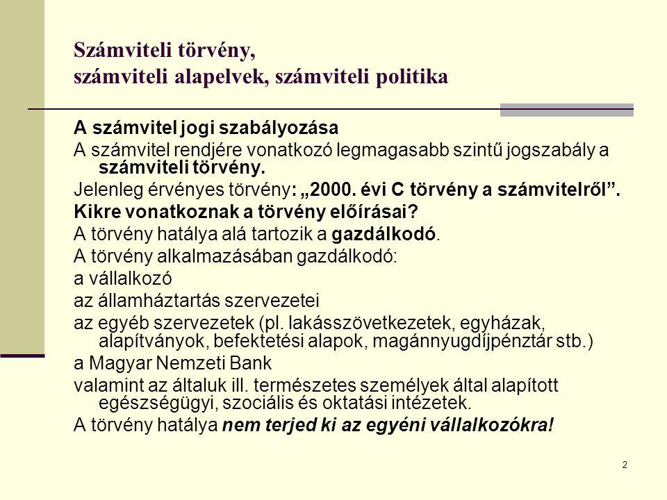 13 Számviteli törvény, számviteli alapelvek, számviteli politika II.