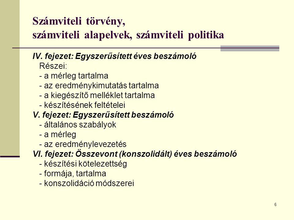 7 Számviteli törvény, számviteli alapelvek, számviteli politika VII.