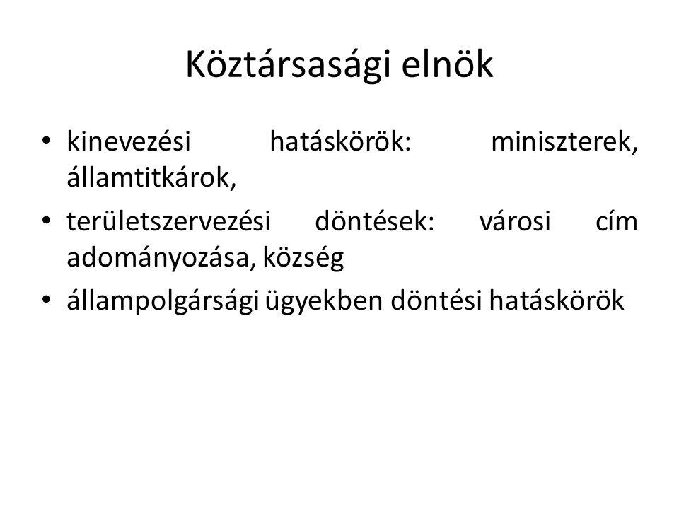 Köztársasági elnök • kinevezési hatáskörök: miniszterek, államtitkárok, • területszervezési döntések: városi cím adományozása, község • állampolgársági ügyekben döntési hatáskörök