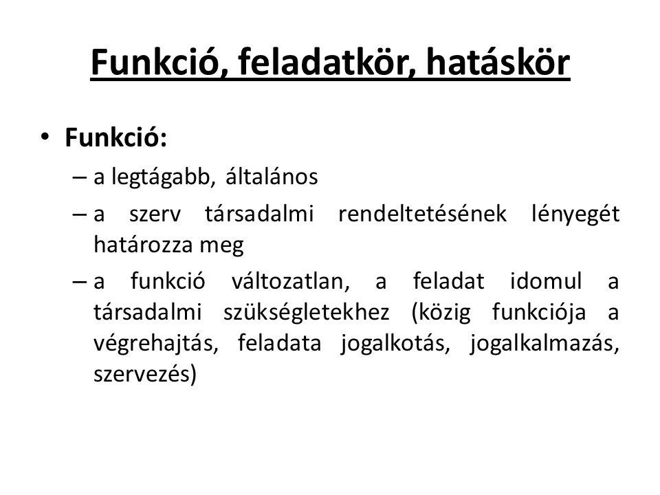 Funkció, feladatkör, hatáskör • Funkció: – a legtágabb, általános – a szerv társadalmi rendeltetésének lényegét határozza meg – a funkció változatlan,