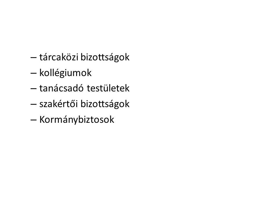 – tárcaközi bizottságok – kollégiumok – tanácsadó testületek – szakértői bizottságok – Kormánybiztosok