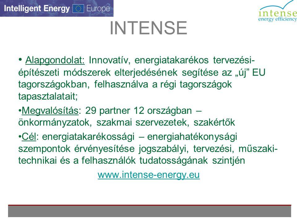 Az INTENSE projekt pénzügyi háttere Az INTENSE teljes költségvetése: 3.616.682 EUR = 998.241.000 HUF IEE támogatás (75 %): 2.712.512 EUR = 718.680.000 HUF Veszprém elszámolható költségei összesen: 75.197 EUR = 19.927.205 HUF IEE támogatás (75 %): 56.398 EUR = 14.945.470 HUF Önerő (25 %):18.799 EUR= 4.981.735 HUF