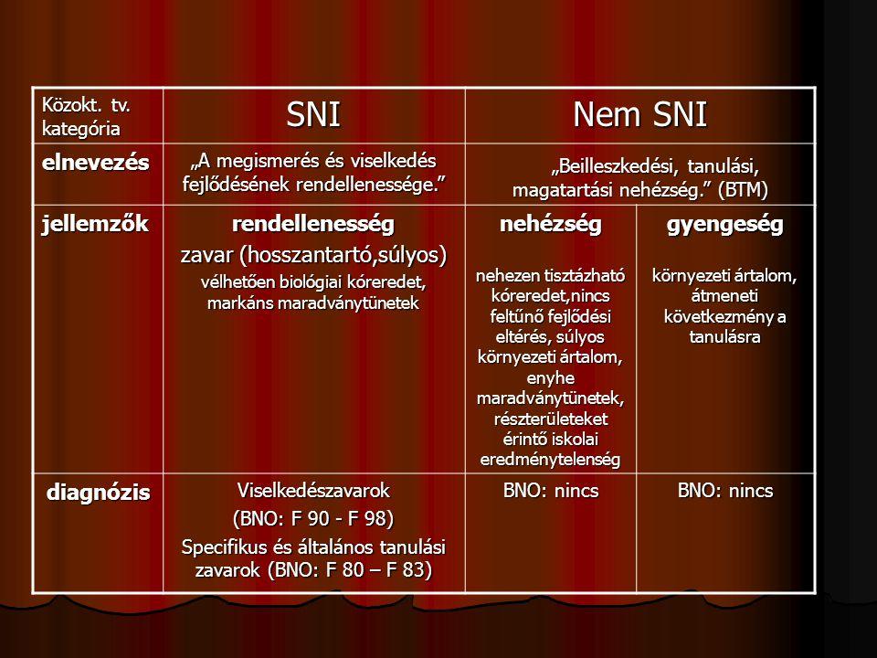 """Közokt. tv. kategória SNI Nem SNI elnevezés """"A megismerés és viselkedés fejlődésének rendellenessége."""" """"Beilleszkedési, tanulási, magatartási nehézség"""