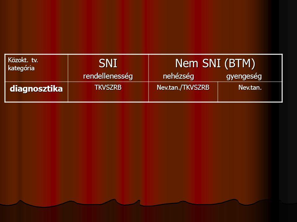 Közokt. tv. kategória SNIrendellenesség Nem SNI (BTM) nehézség gyengeség nehézség gyengeség diagnosztikaTKVSZRBNev.tan./TKVSZRBNev.tan.