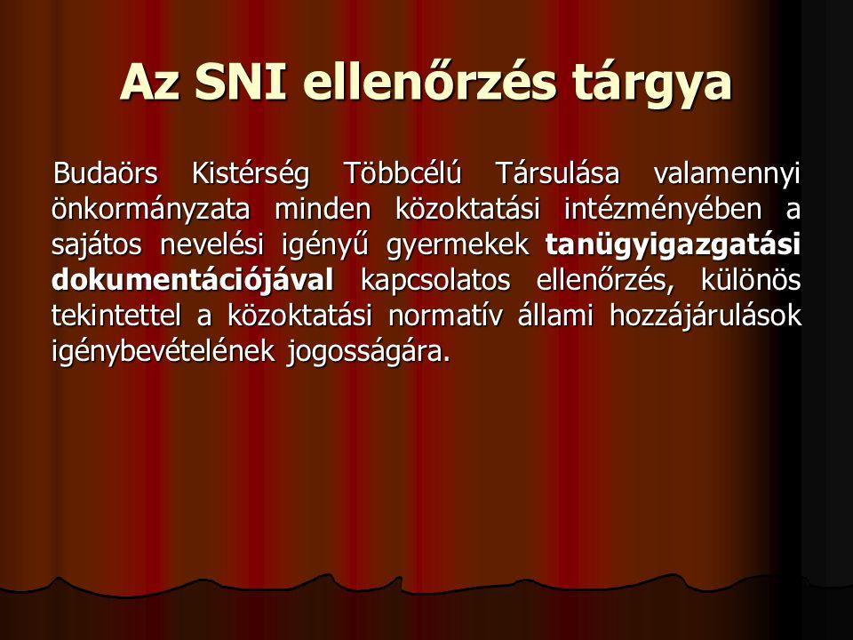 Az SNI ellenőrzés tárgya Budaörs Kistérség Többcélú Társulása valamennyi önkormányzata minden közoktatási intézményében a sajátos nevelési igényű gyermekek tanügyigazgatási dokumentációjával kapcsolatos ellenőrzés, különös tekintettel a közoktatási normatív állami hozzájárulások igénybevételének jogosságára.