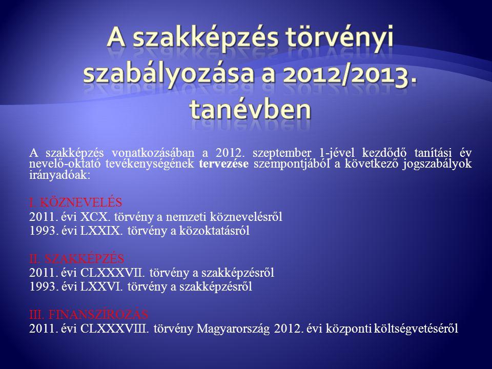 A szakképzés vonatkozásában a 2012. szeptember 1-jével kezdődő tanítási év nevelő-oktató tevékenységének tervezése szempontjából a következő jogszabál
