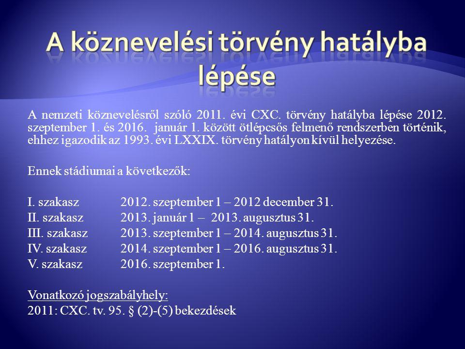A nemzeti köznevelésről szóló 2011. évi CXC. törvény hatályba lépése 2012. szeptember 1. és 2016. január 1. között ötlépcsős felmenő rendszerben törté