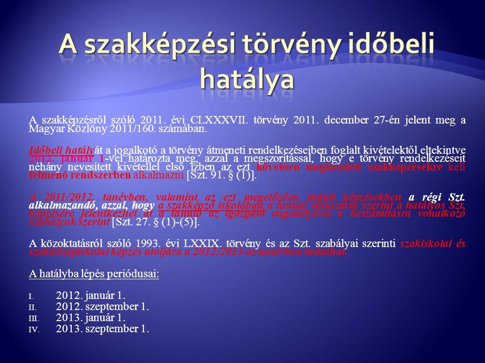 A szakképzésről szóló 2011. évi CLXXXVII. törvény 2011. december 27-én jelent meg a Magyar Közlöny 2011/160. számában. Időbeli hatályát a jogalkotó a
