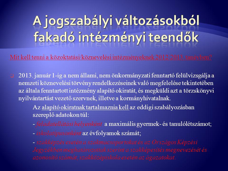 Mit kell tenni a közoktatási/köznevelési intézményeknek 2012/2013. tanévben?  2013. január 1-ig a nem állami, nem önkormányzati fenntartó felülvizsgá