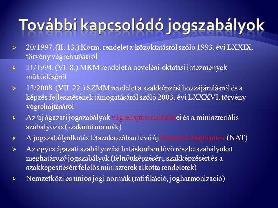  20/1997. (II. 13.) Korm. rendelet a közoktatásról szóló 1993. évi LXXIX. törvény végrehatásáról  11/1994. (VI. 8.) MKM rendelet a nevelési-oktatási