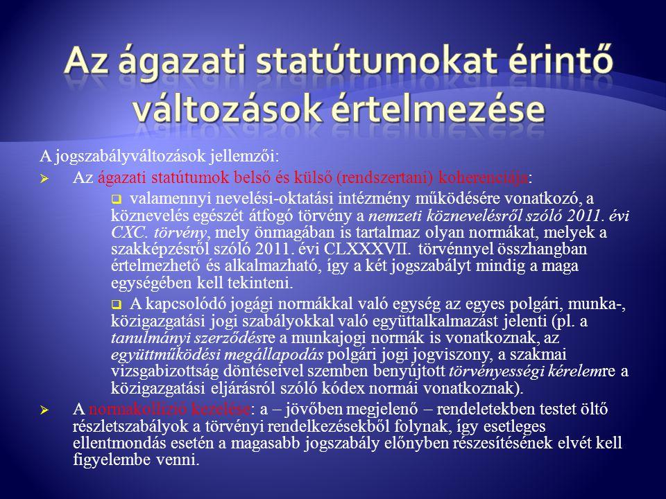 A jogszabályváltozások jellemzői:  Az ágazati statútumok belső és külső (rendszertani) koherenciája:  valamennyi nevelési-oktatási intézmény működés