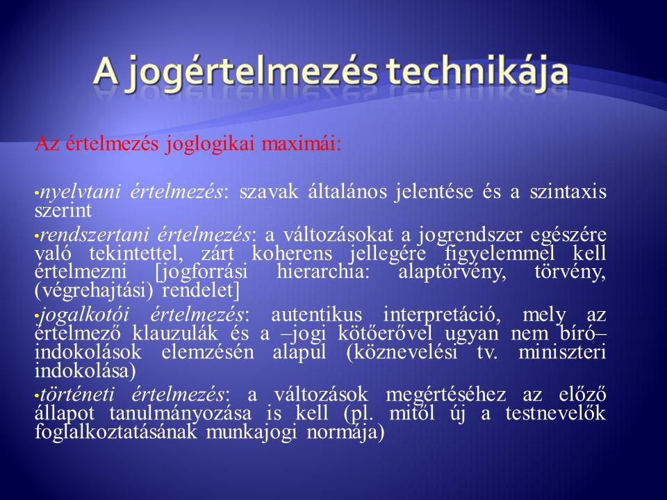 Az értelmezés joglogikai maximái: • nyelvtani értelmezés: szavak általános jelentése és a szintaxis szerint • rendszertani értelmezés: a változásokat