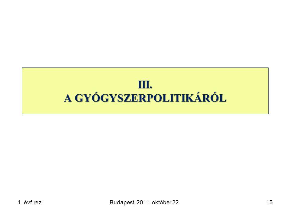 1. évf.rez.Budapest, 2011. október 22.15 III. A GYÓGYSZERPOLITIKÁRÓL