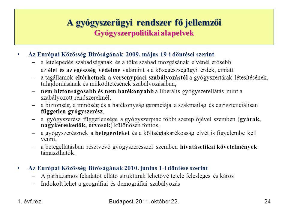 A gyógyszerügyi rendszer fő jellemzői Gyógyszerpolitikai alapelvek •Az Európai Közösség Bíróságának 2009.