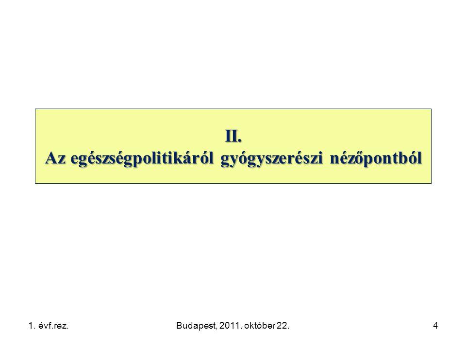1. évf.rez.Budapest, 2011. október 22.4 II. Az egészségpolitikáról gyógyszerészi nézőpontból
