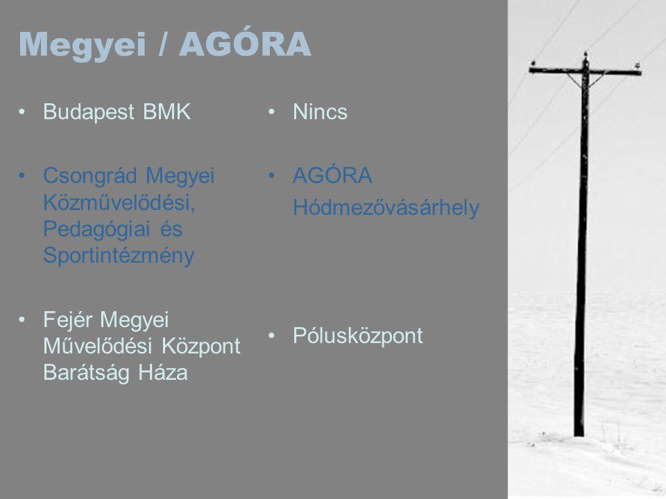 Megyei / AGÓRA •Budapest BMK •Csongrád Megyei Közművelődési, Pedagógiai és Sportintézmény •Fejér Megyei Művelődési Központ Barátság Háza •Nincs •AGÓRA Hódmezővásárhely •Pólusközpont