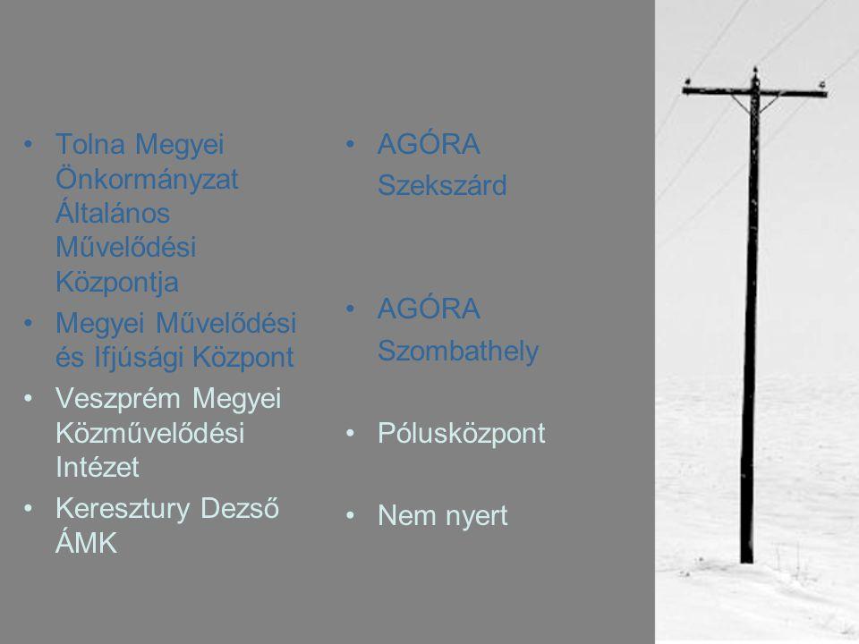 •Tolna Megyei Önkormányzat Általános Művelődési Központja •Megyei Művelődési és Ifjúsági Központ •Veszprém Megyei Közművelődési Intézet •Keresztury Dezső ÁMK •AGÓRA Szekszárd •AGÓRA Szombathely •Pólusközpont •Nem nyert